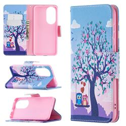 Tree and Owls Leather Wallet Case for Huawei P50