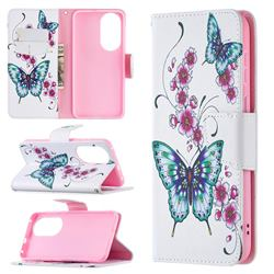 Peach Butterflies Leather Wallet Case for Huawei P50