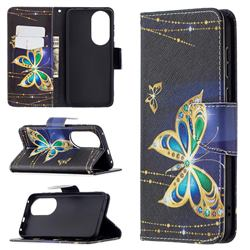 Golden Shining Butterfly Leather Wallet Case for Huawei P50
