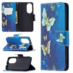 Golden Butterflies Leather Wallet Case for Huawei P50