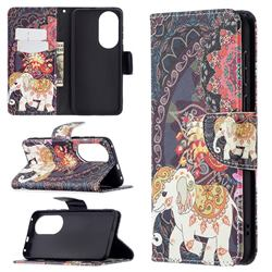 Totem Flower Elephant Leather Wallet Case for Huawei P50