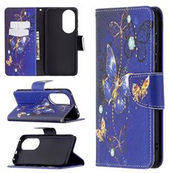 Purple Butterfly Leather Wallet Case for Huawei P50