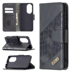 BinfenColor BF04 Color Block Stitching Crocodile Leather Case Cover for Huawei P50 - Black