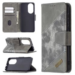 BinfenColor BF04 Color Block Stitching Crocodile Leather Case Cover for Huawei P50 - Gray