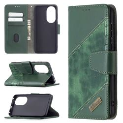 BinfenColor BF04 Color Block Stitching Crocodile Leather Case Cover for Huawei P50 - Green
