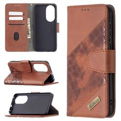 BinfenColor BF04 Color Block Stitching Crocodile Leather Case Cover for Huawei P50 - Brown