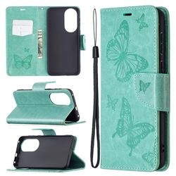 Embossing Double Butterfly Leather Wallet Case for Huawei P50 - Green