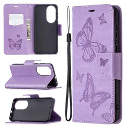 Embossing Double Butterfly Leather Wallet Case for Huawei P50 - Purple