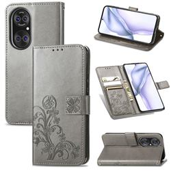 Embossing Imprint Four-Leaf Clover Leather Wallet Case for Huawei P50 - Grey