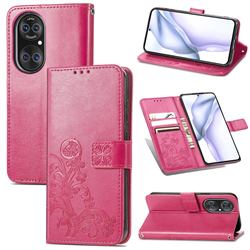 Embossing Imprint Four-Leaf Clover Leather Wallet Case for Huawei P50 - Rose Red