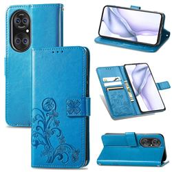 Embossing Imprint Four-Leaf Clover Leather Wallet Case for Huawei P50 - Blue