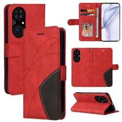 Luxury Two-color Stitching Leather Wallet Case Cover for Huawei P50 - Red