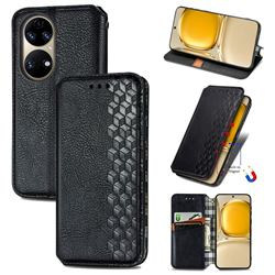 Ultra Slim Fashion Business Card Magnetic Automatic Suction Leather Flip Cover for Huawei P50 - Black