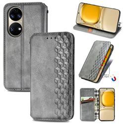 Ultra Slim Fashion Business Card Magnetic Automatic Suction Leather Flip Cover for Huawei P50 - Grey