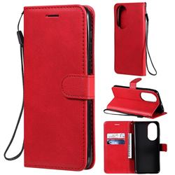 Retro Greek Classic Smooth PU Leather Wallet Phone Case for Huawei P50 - Red