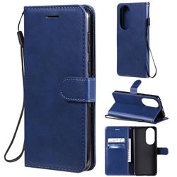 Retro Greek Classic Smooth PU Leather Wallet Phone Case for Huawei P50 - Blue