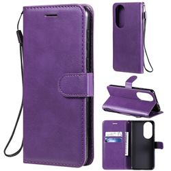 Retro Greek Classic Smooth PU Leather Wallet Phone Case for Huawei P50 - Purple