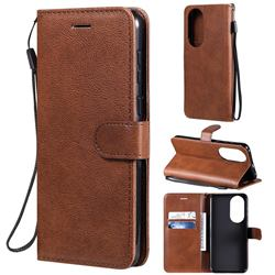 Retro Greek Classic Smooth PU Leather Wallet Phone Case for Huawei P50 - Brown
