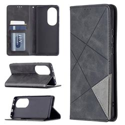 Prismatic Slim Magnetic Sucking Stitching Wallet Flip Cover for Huawei P50 Pro - Black