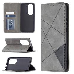 Prismatic Slim Magnetic Sucking Stitching Wallet Flip Cover for Huawei P50 Pro - Gray