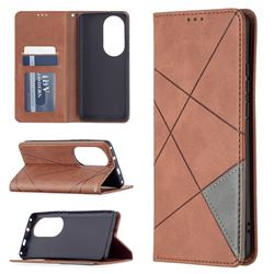 Prismatic Slim Magnetic Sucking Stitching Wallet Flip Cover for Huawei P50 Pro - Brown