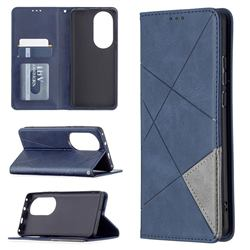 Prismatic Slim Magnetic Sucking Stitching Wallet Flip Cover for Huawei P50 Pro - Blue
