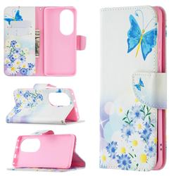 Butterflies Flowers Leather Wallet Case for Huawei P50 Pro