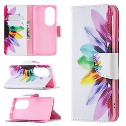 Seven-color Flowers Leather Wallet Case for Huawei P50 Pro
