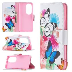 Vivid Flying Butterflies Leather Wallet Case for Huawei P50 Pro