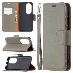 Classic Luxury Litchi Leather Phone Wallet Case for Huawei P50 Pro - Gray