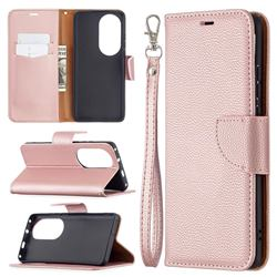 Classic Luxury Litchi Leather Phone Wallet Case for Huawei P50 Pro - Golden