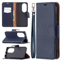 Classic Luxury Litchi Leather Phone Wallet Case for Huawei P50 Pro - Blue