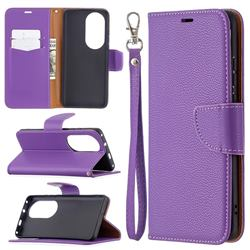 Classic Luxury Litchi Leather Phone Wallet Case for Huawei P50 Pro - Purple