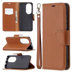 Classic Luxury Litchi Leather Phone Wallet Case for Huawei P50 Pro - Brown