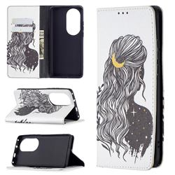 Girl with Long Hair Slim Magnetic Attraction Wallet Flip Cover for Huawei P50 Pro