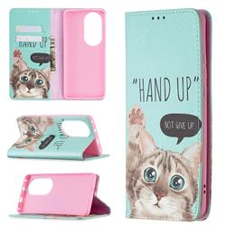 Hand Up Cat Slim Magnetic Attraction Wallet Flip Cover for Huawei P50 Pro