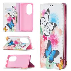Flying Butterflies Slim Magnetic Attraction Wallet Flip Cover for Huawei P50 Pro