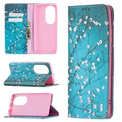 Plum Blossom Slim Magnetic Attraction Wallet Flip Cover for Huawei P50 Pro