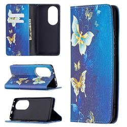 Gold Butterfly Slim Magnetic Attraction Wallet Flip Cover for Huawei P50 Pro