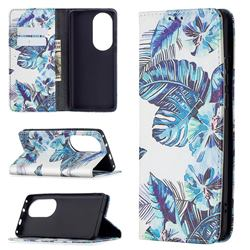Blue Leaf Slim Magnetic Attraction Wallet Flip Cover for Huawei P50 Pro