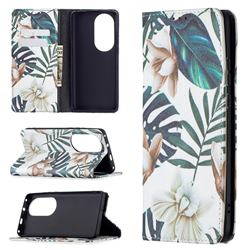 Flower Leaf Slim Magnetic Attraction Wallet Flip Cover for Huawei P50 Pro