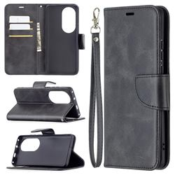 Classic Sheepskin PU Leather Phone Wallet Case for Huawei P50 Pro - Black