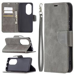 Classic Sheepskin PU Leather Phone Wallet Case for Huawei P50 Pro - Gray
