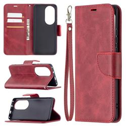 Classic Sheepskin PU Leather Phone Wallet Case for Huawei P50 Pro - Red