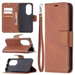 Classic Sheepskin PU Leather Phone Wallet Case for Huawei P50 Pro - Brown