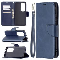 Classic Sheepskin PU Leather Phone Wallet Case for Huawei P50 Pro - Blue