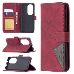 Binfen Color BF05 Prismatic Slim Wallet Flip Cover for Huawei P50 Pro - Red