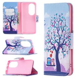 Tree and Owls Leather Wallet Case for Huawei P50 Pro