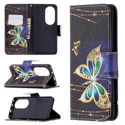 Golden Shining Butterfly Leather Wallet Case for Huawei P50 Pro