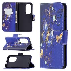 Purple Butterfly Leather Wallet Case for Huawei P50 Pro